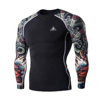 3D Printing Round Neck Long Sleeves Men's Quick-Dry T-Shirt