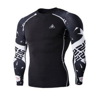 Special Letters Pattern Long Sleeves Men's Compression T-Shirt