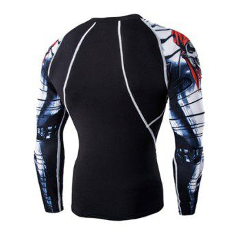 Sports 3D Skulls Printing Round Neck Long Sleeves Men's Compression T-Shirt - BLACK 2XL