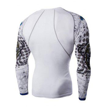 Round Neck 3D Skulls Print Long Sleeves Men's Compression T-Shirt - WHITE XL