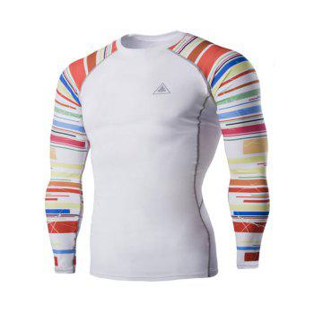 Colorful Stripes Round Neck Long Sleeves Men's Quick-Dry T-Shirt