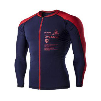 Color Block Letters Print Men's Long Sleeves Cycling Jersey