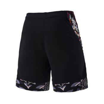 Mesh Design Ethnic Print Men's Lace-Up Straight Leg Sports Shorts - BLACK 2XL