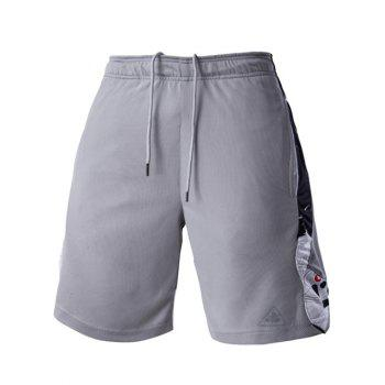 Buy Mesh Design Abstract Pattern Spliced Men's Lace-Up Sports Shorts GRAY