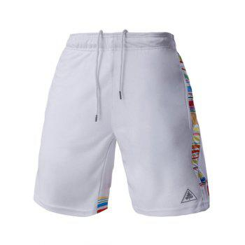 Buy Mesh Design Stripes Spliced Men's Lace-Up Straight Leg Sports Shorts WHITE