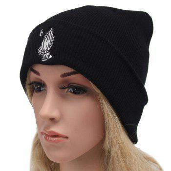 Winter Outdoor Warm Hands and Number 6 Embroidery Flanging Knitted Beanie