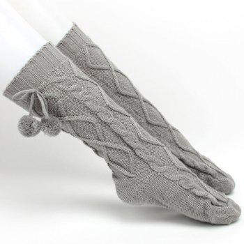 Winter Rhombus Hemp Flowers Small Ball Pendant Knitted Mid Length Stockings - GRAY