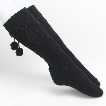 Winter Rhombus Hemp Flowers Small Ball Pendant Knitted Mid Length Stockings -  BLACK