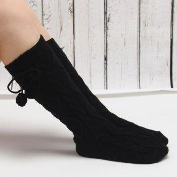 Winter Rhombus Hemp Flowers Small Ball Pendant Knitted Mid Length Stockings - BLACK BLACK