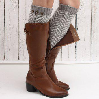 Winter Buttons Herringbone Knitted Leg Warmers -  LIGHT GRAY