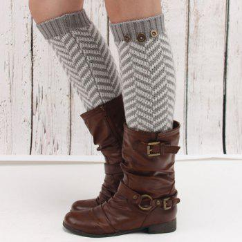 Winter Buttons Herringbone Knitted Leg Warmers - LIGHT GRAY LIGHT GRAY