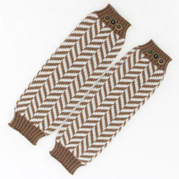 Winter Buttons Herringbone Knitted Leg Warmers -  DARK KHAKI