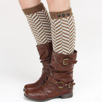 Winter Buttons Herringbone Knitted Leg Warmers - DARK KHAKI DARK KHAKI