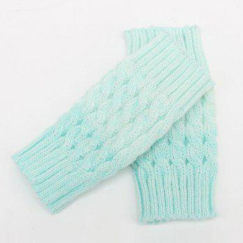Pair of Winter Color Block Hemp Flowers Knitted Boot Cuffs - LIGHT BLUE