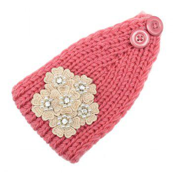 Buy Winter Faux Pearl Rhinestone Small Flower Embroidery Knitted Headband PINK