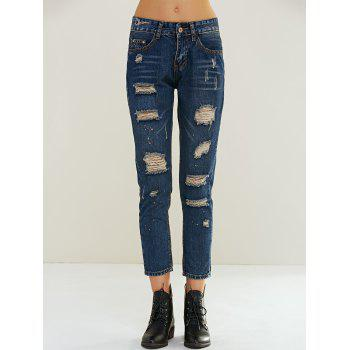 Stylish Ripped Painting Jeans