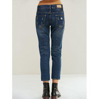 Stylish Ripped Painting Jeans - DENIM BLUE 26