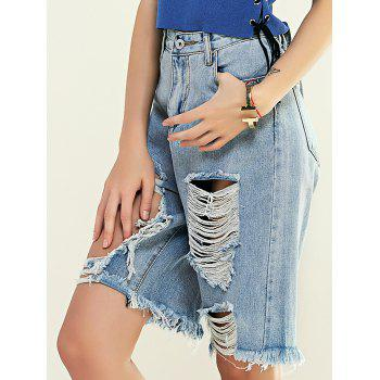Fashionable High Waist Broken Hole Denim Shorts For Women