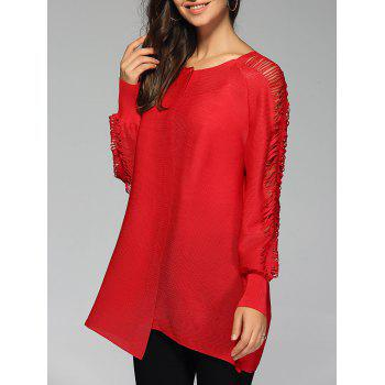 Stylish Pure Color Ripped Blouse For Women