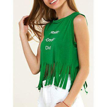 Trendy Letter Print Fringed Tank Top For Women