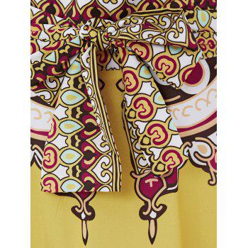 Retro Tribal Print High Low Skirt For Women - YELLOW XL