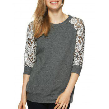 Round Neck Lace Splicing T-Shirt