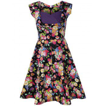Retro Style High-Waisted Floral Print Dress