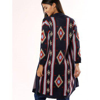Stylish Collarless Geometric Cardigan For Women - DEEP BLUE ONE SIZE