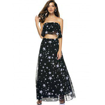 Chic Star Print Tube Top + High Slit Skirt - XL XL