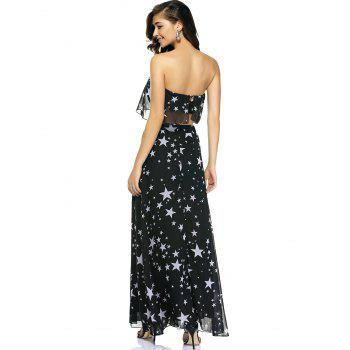 Chic Star Print Tube Top + High Slit Skirt - M M