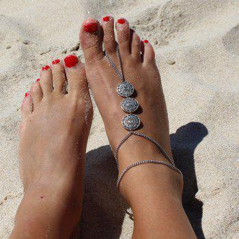 Retro Style Carving Floral Pattern Round Anklet For Women - SILVER SILVER