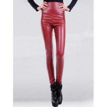 Buy Solid Color High Waist Skinny PU Leather Pants Women WINE RED