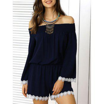Off The Shoulder Lace Panel Pants Romper
