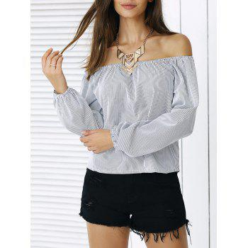 Simple Puff Sleeve Striped Blouse For Women