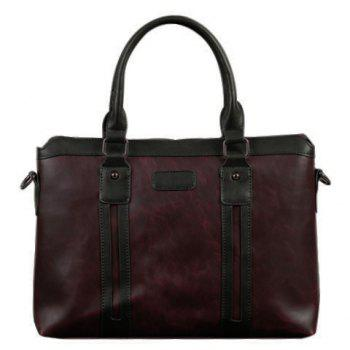 Fashion Color Block and Zip Design Men's Briefcase - COFFEE COFFEE