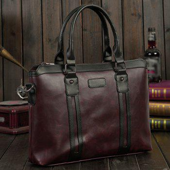 Fashion Color Block and Zip Design Men's Briefcase -  COFFEE