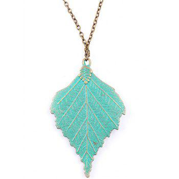Vintage Rhinestone Wing Leaf Sweater Chain - GREEN