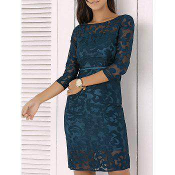 Elegant Slash Neck Mesh Embroidered Semi Sheer Dress