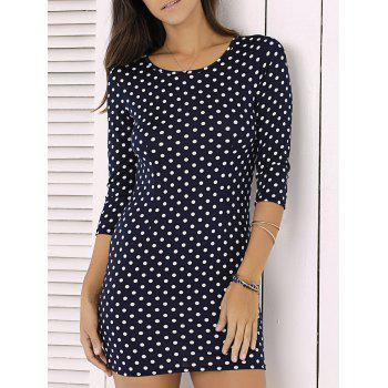 Fashion Polka Dot Print 3/4 Sleeve Sheath Mini Dress