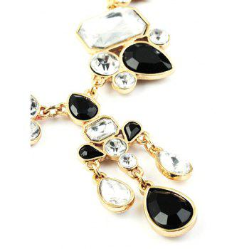 Adorn Faux Crystal Water Drop Necklace - GOLDEN