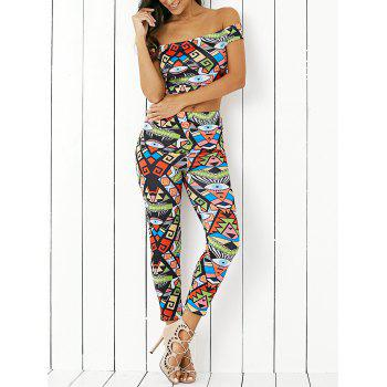 Stylish Off The Shoulder Print Crop Top and  Skinny Ninth Pants Twinset