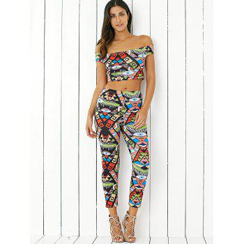 Stylish Off The Shoulder Print Crop Top and  Skinny Ninth Pants Twinset - COLORMIX XL
