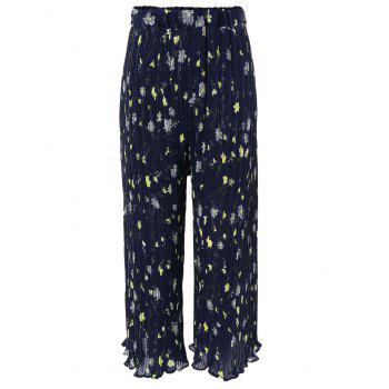 Elegant Women's Floral Print Pleated Wide-Leg Pants