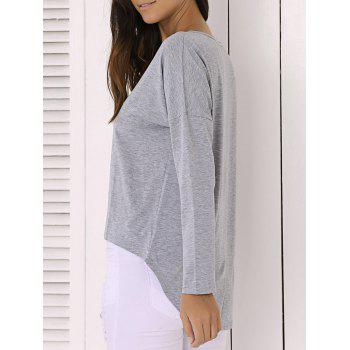 Casual Pure Color Long Sleeve Scoop Neck Asymmetric Blouse