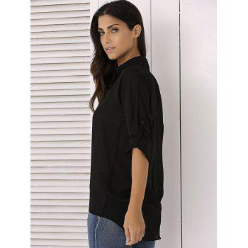 Long Sleeve Chiffon Button Up Casual Tunic Shirt - BLACK M