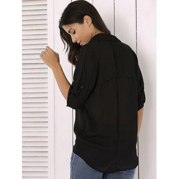 Long Sleeve Chiffon Button Up Casual Tunic Shirt - BLACK S