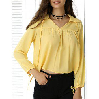 Freshing Pleated Pure Color Long Sleeve Cropped Shirt