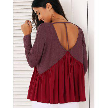 Sweet Long Sleeve Plunge Neck Pleated Asymmetric Swing Blouse - CLARET CLARET
