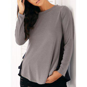 Casual Long Sleeve Chiffon Spliced Flounced Blouse