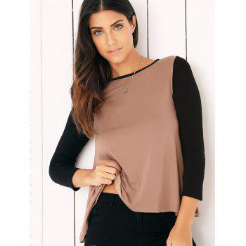 Casual Long Sleeve Color Block Flounced Asymmetric Blouse - XL XL